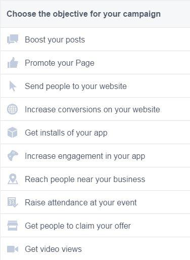 אפשרויות פרסום בפייסבוק